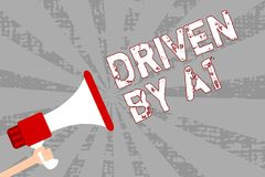 Writing note showing Driven By A1. Business photo showcasing Move or controlled by a top quality driver in the society Man holding. Megaphone loudspeaker grunge royalty free illustration