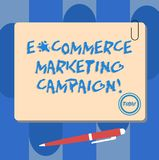 Writing note showing E Commerce Marketing Campaign. Business photo showcasing driving awareness of the brand though. Online Square Color Board with Magnet Click stock illustration