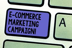 Writing note showing E Commerce Marketing Campaign. Business photo showcasing driving awareness of the brand though. Online Keyboard key Intention to create royalty free stock images