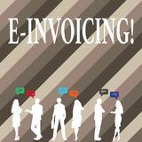 Writing note showing E Invoicing. Business photo showcasing Company encourages use of digital billing. Writing note showing E Invoicing. Business photo vector illustration