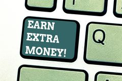 Writing note showing Earn Extra Money. Business photo showcasing improve your skills work extra hours or second job. Keyboard key Intention to create computer royalty free illustration