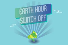 Writing note showing Earth Hour Switch Off. Business photo showcasing The Lights Out Event Annual Movement Planet Day.  vector illustration