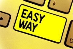 Writing note showing Easy Way. Business photo showcasing making hard decision between two less and more effort method Keyboard yel. Low Intention create computer stock photo