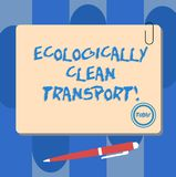 Writing note showing Ecologically Clean Transport. Business photo showcasing Green vehicle Environmentally friendly. Vehicle Square Color Board with Magnet stock illustration