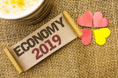 Writing note showing  Economy 2019. Business photo showcasing Financial Currency Growth Market Earnings Trade Money written on sti. Writing note showing  Economy Royalty Free Stock Photography