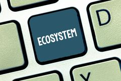 Writing note showing Ecosystem. Business photo showcasing biological community of interacting organisms and environment. Keyboard Intention to create computer royalty free stock image