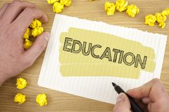 Writing note showing Education. Business photo showcasing Teaching of students by implementation of latest technology written on T. Writing note showing Royalty Free Stock Images
