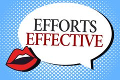 Writing note showing Efforts Effective. Business photo showcasing Produces the results as per desired Goal Target. Achieve royalty free illustration