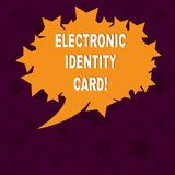 Writing note showing Electronic Identity Card. Business photo showcasing digital solution for proof of identity of citizens Blank. Oval Color Speech Bubble with stock photo