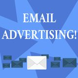 Writing note showing Email Advertising. Business photo showcasing act of sending a commercial message to target market. Writing note showing Email Advertising stock illustration