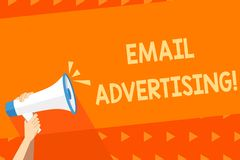 Writing note showing Email Advertising. Business photo showcasing act of sending a commercial message to target market. Writing note showing Email Advertising vector illustration