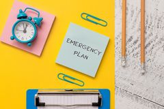 Writing note showing Emergency Plan. Business photo showcasing Procedures for response to major emergencies Be prepared. Writing note showing Emergency Plan royalty free stock photography