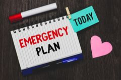 Writing note showing Emergency Plan. Business photo showcasing Procedures for response to major emergencies Be prepared Open noteb. Ook pin holding reminder royalty free stock images