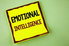 Writing note showing  Emotional Intelligence. Business photo showcasing Capacity to control and be aware of personal emotions writ. Ten Yellow Sticky note paper Stock Photos