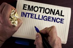 Writing note showing Emotional Intelligence. Business photo showcasing Capacity to control and be aware of personal emotions writ. Ten by Man Notebook Book royalty free stock photography