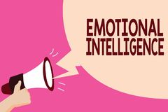 Writing note showing Emotional Intelligence. Business photo showcasing Self and Social Awareness Handle relationships vector illustration