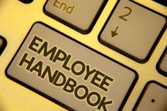 Writing note showing Employee Handbook. Business photo showcasing Document Manual Regulations Rules Guidebook Policy Code Text two. Words written Computer royalty free stock photo