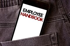 Writing note showing Employee Handbook. Business photo showcasing Document Manual Regulations Rules Guidebook Policy Code Words wr. Itten black Phone white royalty free stock photos