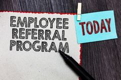 Writing note showing Employee Referral Program. Business photo showcasing employees recommend qualified friends relatives White pa. Ge red borders marker stock photo