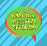Writing note showing Employee Referral Program. Business photo showcasing hire best talent from employees existing networks Blank. Speech Bubble photo and Stack royalty free illustration