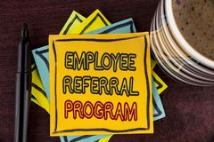 Writing note showing Employee Referral Program. Business photo showcasing Recommend right jobseeker share vacant job post written. Sticky Note paper Wooden stock images