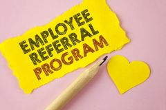 Writing note showing Employee Referral Program. Business photo showcasing Recommend right jobseeker share vacant job post written. Tear Yellow paper piece Pink stock photos