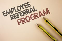 Writing note showing Employee Referral Program. Business photo showcasing strategy work encourage employers through prizes writte. N Plain background Pencils stock photo