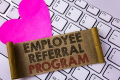 Writing note showing Employee Referral Program. Business photo showcasing strategy work encourage employers through prizes writte. N Folded Cardboard Paper Piece royalty free stock image