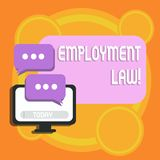 Writing note showing Employment Law. Business photo showcasing encompassing all areas of employer employee relationship. Writing note showing Employment Law royalty free illustration