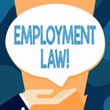 Writing note showing Employment Law. Business photo showcasing encompassing all areas of employer employee relationship. Writing note showing Employment Law stock illustration