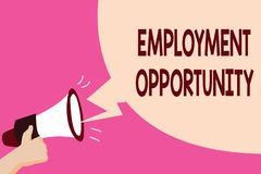 Writing note showing Employment Opportunity. Business photo showcasing no Discrimination against Applicant Equal Policy.  vector illustration