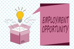 Writing note showing Employment Opportunity. Business photo showcasing no Discrimination against Applicant Equal Policy.  royalty free illustration