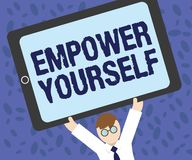 Writing note showing Empower Yourself. Business photo showcasing taking control of life setting goals positive choices.  Royalty Free Illustration
