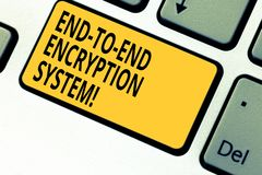 Writing note showing End To End Encryption System. Business photo showcasing method used for securing encrypted data. Keyboard key Intention to create computer stock photography
