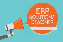 Free Writing Note Showing Erp Solutions Designer. Business Photo Showcasing Elegant Optimized Modularised And Reusable Possible Attenti Stock Image - 121155861