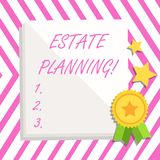 Writing note showing Estate Planning. Business photo showcasing Insurance Investment Retirement Plan Mortgage Properties. Writing note showing Estate Planning vector illustration