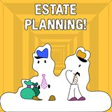 Writing note showing Estate Planning. Business photo showcasing Insurance Investment Retirement Plan Mortgage Properties. Writing note showing Estate Planning royalty free illustration
