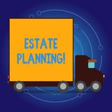 Writing note showing Estate Planning. Business photo showcasing Insurance Investment Retirement Plan Mortgage Properties. Writing note showing Estate Planning stock illustration