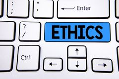 Writing note showing  Ethics. Business photo showcasing Maintaining equality balance among others having moral principles written. Blue Key Button White Stock Photo