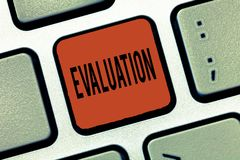 Writing note showing Evaluation. Business photo showcasing Judgment Feedback Evaluate the quality perforanalysisce of. Something stock images