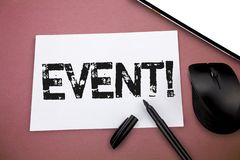 Writing note showing Event. Business photo showcasing thing that happens or takes place especially one of importance royalty free stock photo