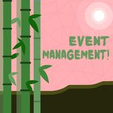 Writing note showing Event Management. Business photo showcasing Special Occasion Schedule Organization Arrange Activities. Writing note showing Event Management royalty free illustration