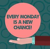 Writing note showing Every Monday Is A New Chance. Business photo showcasing Start your week with positivism Motivation. Hu analysis Hand Offering Solid Color royalty free illustration