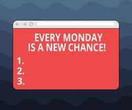 Writing note showing Every Monday Is A New Chance. Business photo showcasing Start your week with positivism Motivation. Monitor Screen with Progress Control vector illustration