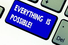 Writing note showing Everything Is Possible. Business photo showcasing we cannot predict with any certainty what will. Happen Keyboard key Intention to create royalty free stock image