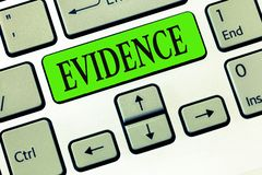 Writing note showing Evidence. Business photo showcasing available body facts indicating belief or proposition is true.  stock image