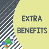 Writing note showing Extra Benefits. Business photo showcasing Additional compensation Bonus Subsidies Incentives. Writing note showing Extra Benefits. Business vector illustration