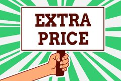 Writing note showing Extra Price. Business photo showcasing extra price definition beyond the ordinary large degree Man hand holdi. Ng poster important protest royalty free illustration