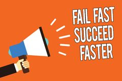 Writing note showing Fail Fast Succeed Faster. Business photo showcasing dont give up keep working on it to achieve Man holding me vector illustration