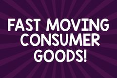 Writing note showing Fast Moving Consumer Goods. Business photo showcasing High volume of purchases Consumerism retail. Half Tone Sunburst Beam Explosion Effect stock illustration